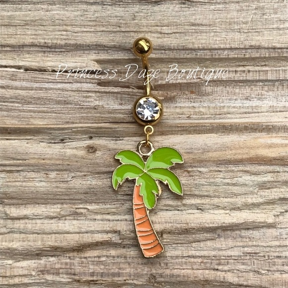 Gold Palm Tree Belly Button Ring Boutique